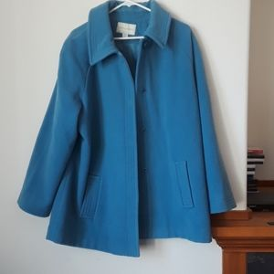 Appleseed's xl wool teal blue trench coat